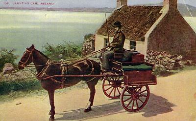 JAUNTING CAR Beside Thatched Cottage Ireland old Postcard unused