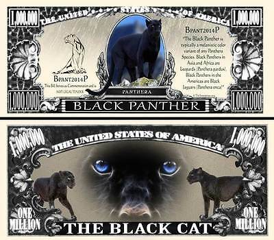 Black Panther Novelty Dollar Bill With  Semi Rigid Protector & Free Shipping