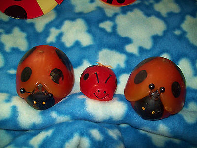 Very Vintage 2 Large Hallmark Lady Bug Candles & One Small One Hong Kong