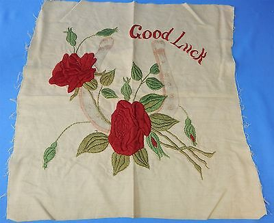 Antique Victorian Crewel Embroidery Pillow Cover Top Good Luck Horseshoe Roses
