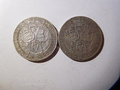 Great Britain Florin, Two Shillings KM# 781, 2 Silver Coins, 1896, 1900
