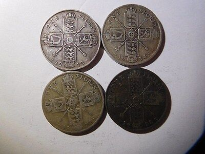 Great Britain, Florin, Two Shillings KM# 817, KM#817a, Lot Of 4 Silver Coins