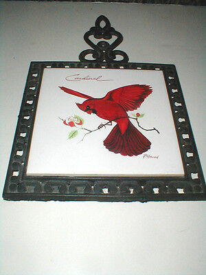 Screen Craft Cape Cod  Red CARDINAL  Tile Trivet w Black Cast Iron Frame  (59F)
