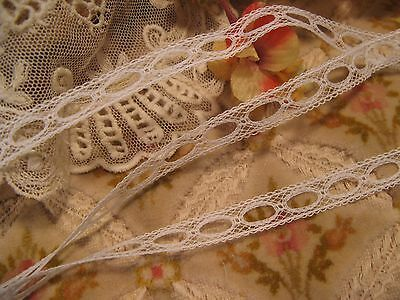 Vintage French Cotton Insertion Beading Lace For Ribbon ~ Doll Craft Dress (2)
