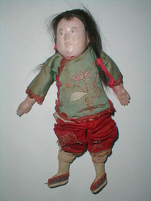 Chinese Composition Paper Mache Stuffed Body ORIENTAL Asian Girl Doll -Rare 1920