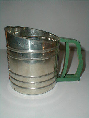 Foley Sift-Chine Tin Metal Double Screen Flour Sifter w Green Handle-Early Model