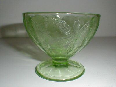 Green Depression Glass FLORAL/POINSETTIA Sherbet