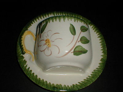 Hand Painted White Flower Green Leaf  Coffee Tea Cup Planter Wall Pocket/s