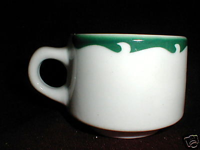 Sterling China Restaurant Ware Green Wave Crest Scroll Cup/s Only