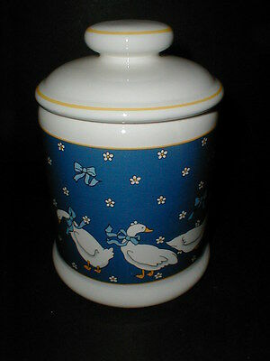 Blue Japanese Ceramic White Geese Duck w Ribbon Small Tea Canister w Lid