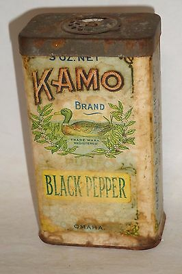 Nice Old Cardboard Kamo Black Pepper Advertising Grocery Spice Tin Can