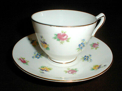 Crown Staffordshire English Bone China ROSE PANSY Cup Saucer