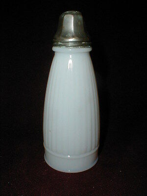 Frank Tea Co White Opaque Milk Glass Vertical Ribbed Salt/Pepper Shaker