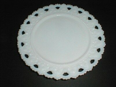 "Kemple Milk Glass Heart Design LACEY EDGE 7-1/4"" Plate (loc-H6)"