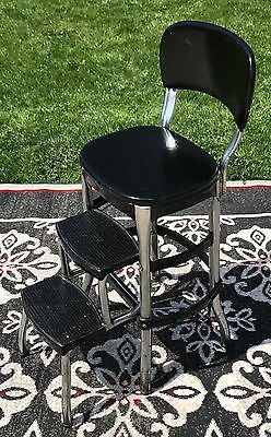 Original 50s Black Cosco StepStool bench chair ladder shabby vintage mid century