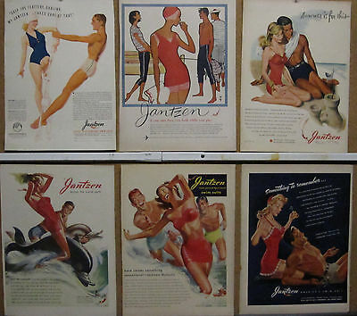Jantzen Swim Suit Ad Lot (6); 1938-1958