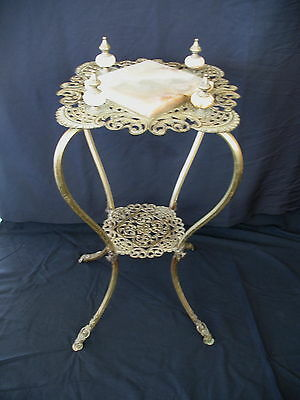 Antique Vintage  Brass & Onyx  Plant Stand  Fern Stand  with Finials