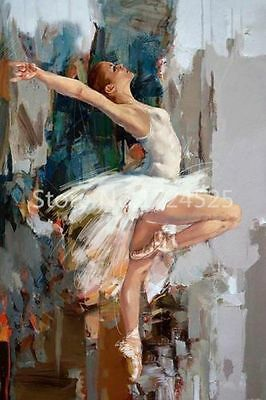 Hand Painted Oil Painting Abstract Art Ballet Dancer on Canvas (NO framed)