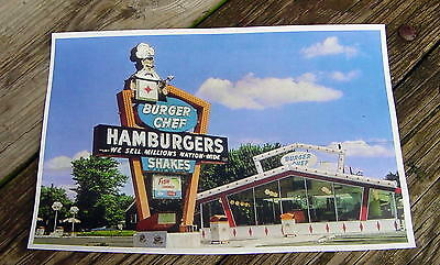 Vintage BURGER CHEF HAMBURGERS SHAKES FAST FOOD RESTAURANT King Neon Sign Photo