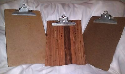 Lot of 3 Vintage Wood Clipboards A&W SKILCRAFT OIC