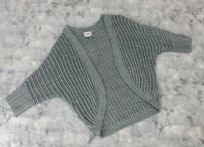 Justice Girls Size 10 Silver Gray Sparkle Cardigan Sweater Short Sleeve Open