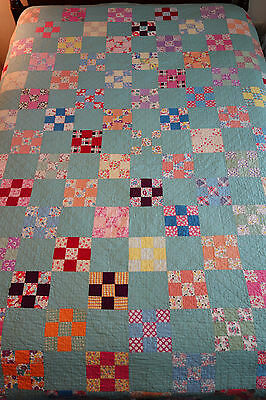 "Beautiful Antique Handmade Patchwork Nine Patch quilt Feedsack 94"" x 72"""