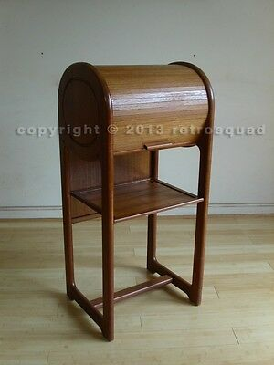 Danish Modern Teak Tambour Roll Top Entry Hall Chest Endtable Night Phone stand