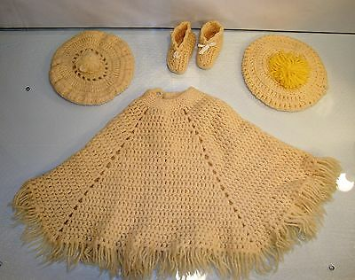 Vintage Childs Clothes Crochet Poncho Fringe Crocheted Hats Booties Baby Boho
