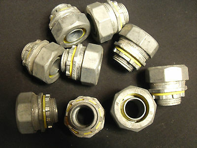 """Lot of 9-- die cast 3/4""""  straight liquid tight connecters,"""