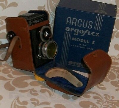 Argus argoflex model E in original box and leather travel case,instructions,tags