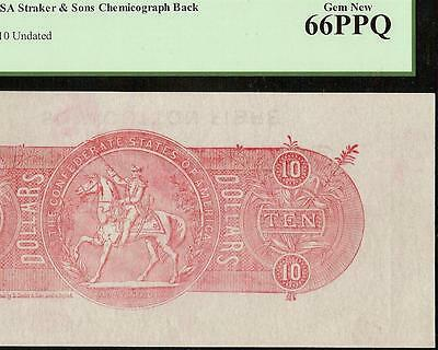 $10 Confederate States Chemicograph Back Csa Currency Paper Money Pcgs Gem 66