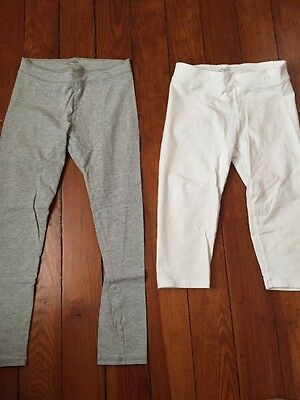 Girls JUSTICE size 12 Leggings Long, Crop, Gray, White Cotton Blend Lot Of 2