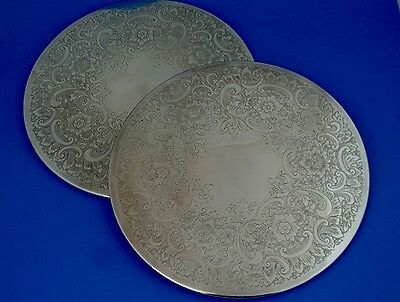 English Vintage Silverplate Filagree Round Trivets Felt Backed 9 Inch Set of 2