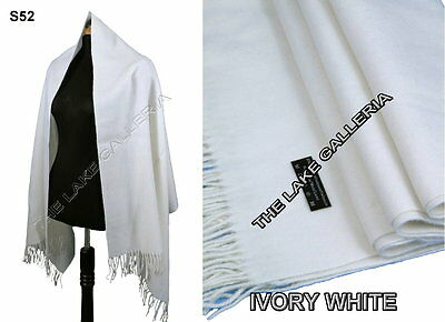 New Ivory White 4-Ply Wool Cashmere Blend Shawl Scarf Wrap Warm Pashmina Style