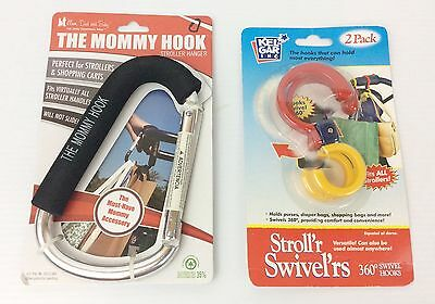 New Huge The Mommy Hook & 360 Stroll'r Swivel'rs Stroller Bag Hooks