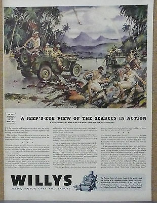 """Willys Jeep Ad, WWII, 1943 """"...Seabees in Action"""""""