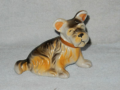 Vintage Japan Porcelain Ceramic Dog  Schnauzer Terrier Sitting Figurine