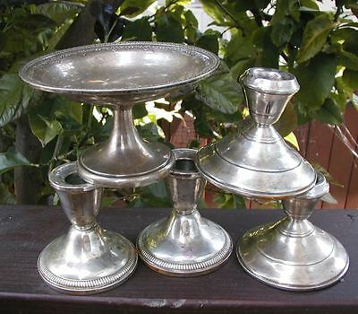 Sterling Silver Weighted Vintage Candle Stick Holders & Dish-For Scrap