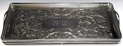 """Vintage Footed Wilcox Silverplate Gallery Serving Tray  - 20.25"""" x 9.25"""""""