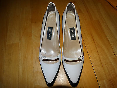 BALLY womens 6 1/2 M 6.5 black white heels pumps shoes leather