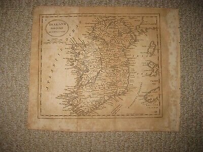 Fine Antique 1809 Ireland Copperplate Map Cork Kerry Munster Leinster Nymph Bank