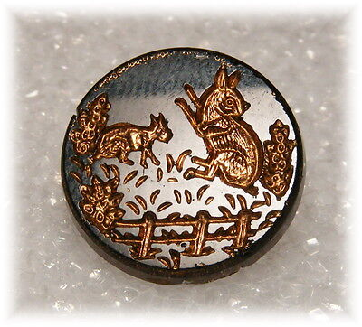Antique Black Glass Button w Gold Incised Picture of Two Rabbits In Garden