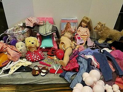 Lot of American Girl Jewelry, Clothes, Shoes, and accessories pets bitty baby