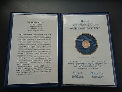 1980 British Virgin Islands 50 Dollars Proof Gold coin in original packaging