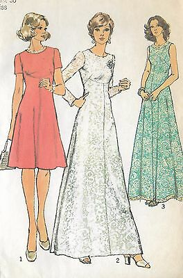 "S6094 Vintage 1970 Sewing Pattern Dresses Evening Special Occasion Bust 36"" Sz14"
