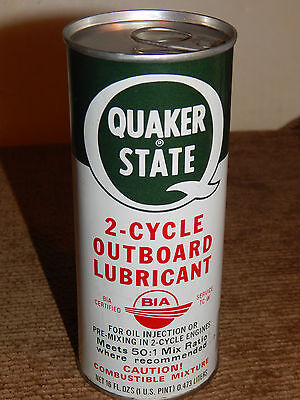 Vintage Quaker State 2 Cycle Outboard Lubricant Full Metal Can 16 oz. - 1 pint