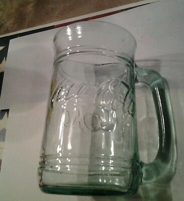 Coca Cola Coke Green Glass 16 oz Soda Mug with Handle Cup Barrel Stein Tumbler