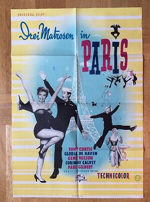 Drei Matrosen in Paris (Kinoplakat '55) - Tony Curtis / Eiffelturm
