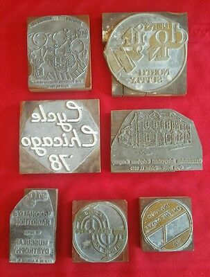 7 Vintage Raised ADVERTISING PRINTING PLATES STAMPS McDonald's, Cycle Chicago