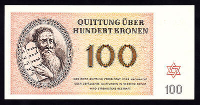 Germany Theresienstadt Ghetto Camp 100 Kronen 1943 Jewish RARE AU/UNC Note